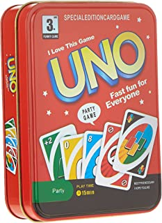 UNO Playing Card Game - Deluxe Tin Box Version, Great for Traveling and Easy Carrying