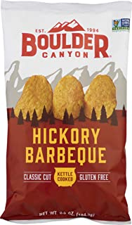 Boulder Canyon Kettle Cooked Potato Chips, NON-GMO Verified, Gluten Free, Hickory Barbeque, 6.5 Ounce