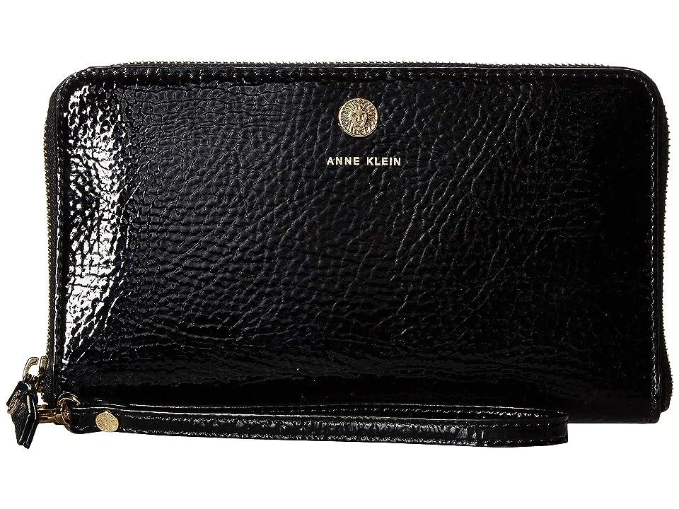 Anne Klein Patent Slim Phone Wristlet (Black) Handbags