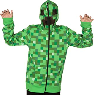 JINX Minecraft Big Boys' Creeper Zip-Up Costume Hoodie, with Full Face Mask
