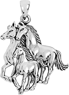Equestrian Family Three Wild Horses Family .925 Sterling Silver Pendant