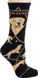 Golden Retriever on Black Ultra Lightweight Cotton Crew Socks - Made in USA