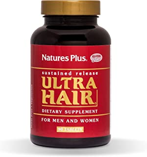 NaturesPlus Ultra Hair, Sustained Release - 90 Vegetarian Tablets - Natural Hair Growth Supplement for Men & Women - Longer, Thicker Hair - Gluten-Free - 45 Servings