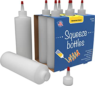 7-pack Plastic Condiment Squeeze Bottles - 16 Ounce with Red Tip Cap - Made in USA - Perfect for Ketchup, BBQ, Sauces, Syr...