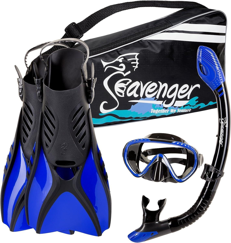 Seavenger Diving Snorkel Set  (Black Silicon blueee)  L