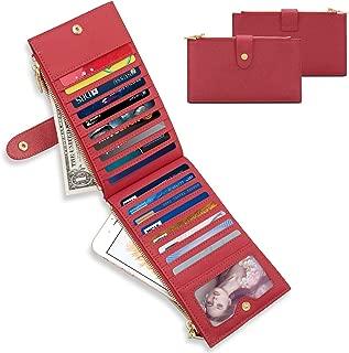 Women's Checkbook Wallet RFID Blocking Credit Card Case Purse Bi-fold Long Multi Zipper Pocket