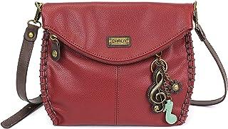 Chala Charming Crossbody Bag with Zipper Flap Top and Metal Chain - Burgundy