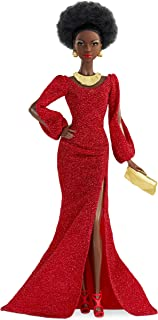 Barbie GLG35 - lalka Barbie Signature Black 40th Anniversary Lalka First Black Barbie, w czerwonej sukience ze stojakiem d...