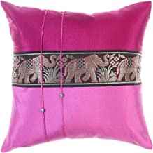 Avarada 16x16 Inch (40x40 cm) Striped Elephant Decorative Throw Pillow Case Cushion Cover for Sofa Couch Chair Bed Insert Not Included Zipper Pink
