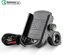 Rydonair Motorcycle Phone Mount with QC 3.0 USB Charger Socket Motorcycle Handlebar Mount Compatible with Samsung iPhone etc.