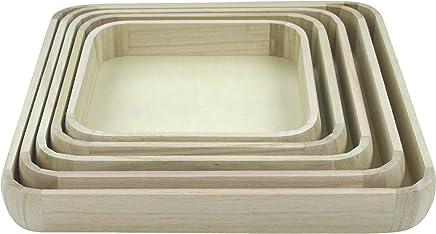 Preisvergleich für Holz Tablett Set 5 Stück quadratisch natur