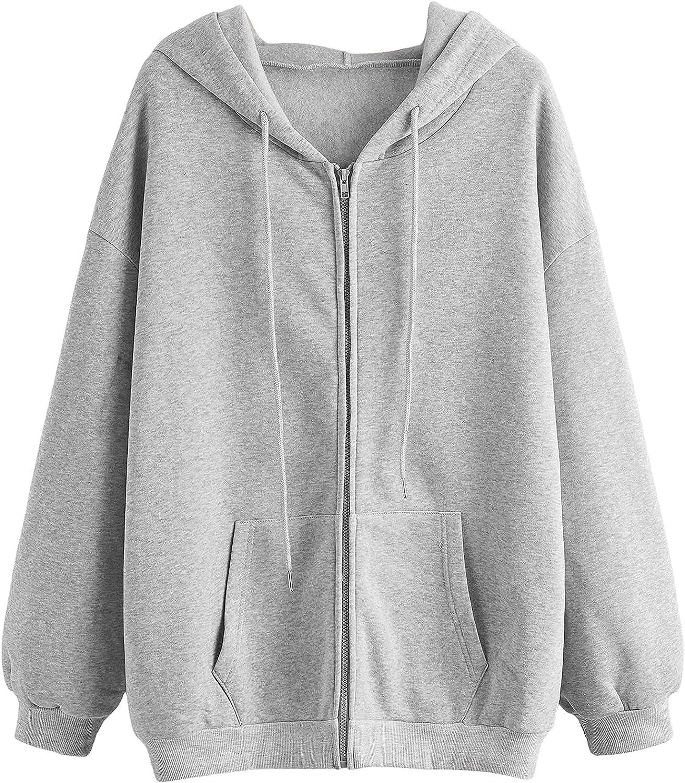 SHEIN Women's Long Sleeve Drawstring Drop Shoulder Zip Up Hoodie Sweatshirt