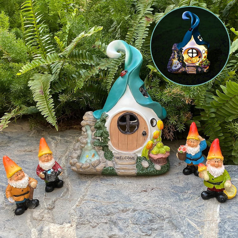 ALLADINBOX Solar Fairy Garden House Kit - Hand Painted Miniature Fairy House Figurine Set of 4 pcs, Indoor & Outdoor Fairy Garden Supplies for Kids or Adults