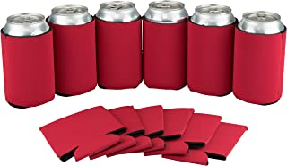 12 Can Sleeves - Beer Coolies for Bottles and Cans - Bulk Blank Drink Coolers – DIY Custom Wedding Favor, Funny Party Gift (Red, 12)