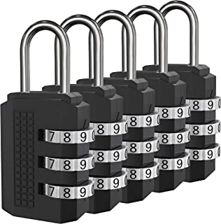 Padlock, Combination Lock, 5 Black Digit Luggage Locks, Perfect Travel Locks for Suitcase & Backpack