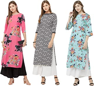 GoSriKi Women's Multicolor Printed Straight Kurta Pack of 03(CHAKRI-SAAHO-Dabba)