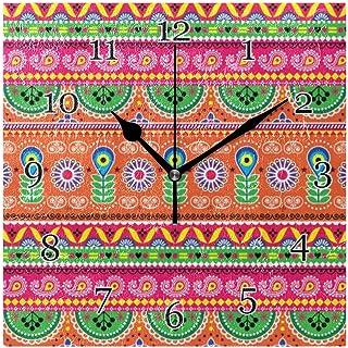 Tribal blommig aztek väggklocka tyst icke-tickande fyrkantig konstmålning klocka för hem kontor skoldekor