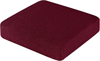 Subrtex Cushion Covers for Couch Removable Jacquard Stretch Furniture Seat Protector (Chair Cushion, Wine)