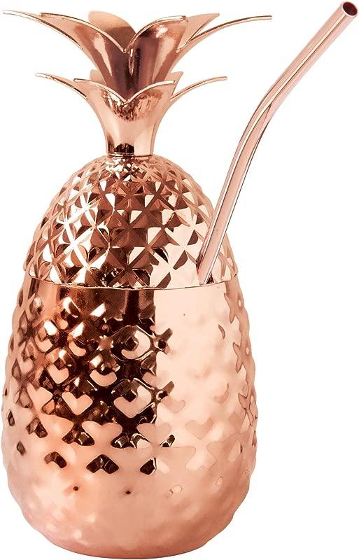 Oggi 9013 12 Straw Pineapple Cup 12 Oz Copper