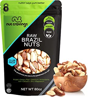 Raw Brazil Nuts - No Shell, Whole, Superior to Organic (80oz - 5 Pound) Packed Fresh in Resealble Bag - Trail Mix Snack - ...