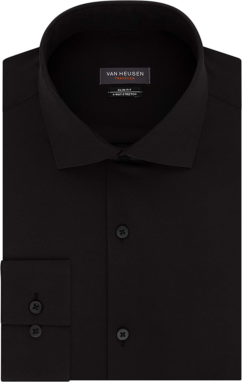 Van 2021 new Large-scale sale Heusen Men's Dress Shirt Traveler Fit Stretch Slim