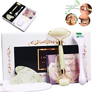 LAVÔNNÉ【4-In-1】100%Natural Jade Roller & Gua Sha + Derma Roller Massager + Makeup Remover Pad. Beauty Tools Set. Instant Reduce Puffiness/Wrinkles/Bags/Spots/Fine Lines - Eye/Lips/Neck/Face Kit.