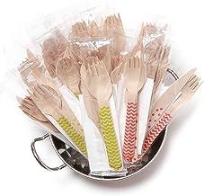 أدوات مائدة خشبية للاستعمال مرة واحدة مغلفة بشكل فردي / أدوات الطعام/أدوات مائدة فضية، مجموعة من 50 قطعة - تحتوي على (مزيج...