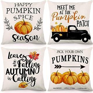 CDWERD Fall Throw Pillow Covers 18x18Inches Pumpkin Truck Leaves Autumn Theme Farmhouse Pillowcase Cotton Linen Cushion Case for Fall Thanksgiving Decor Set of 4