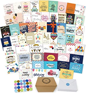 60 Unique Happy Birthday Cards Assortment- Birthday Cards Bulk With Message Inside- 5 x 7 Inches Birthday Cards Boxed Envelopes Included-Birthday Cards Pack for Men Women Kids- Home Office-Bday Cards