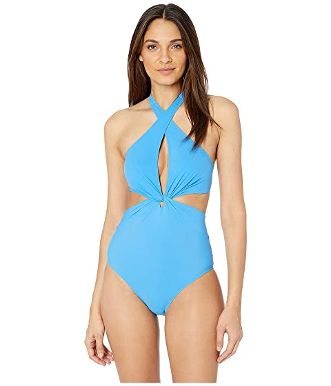 Kate Spade New York Grove Beach Knotted Halter One-Piece Swimsuit