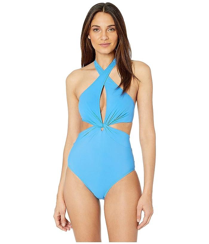 Kate Spade New York Grove Beach Knotted Halter One-Piece Swimsuit (Riviera Blue) Women