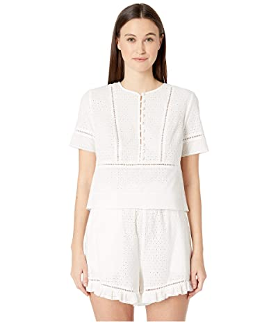 Jonathan Simkhai Embroidered Button Down Tee (White) Women