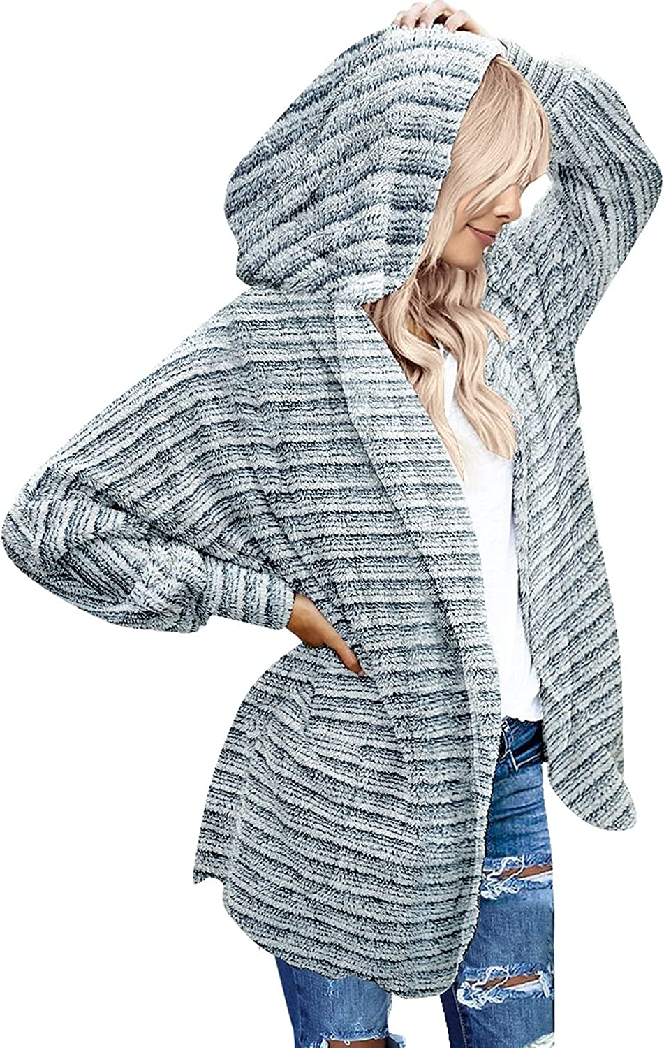 LookbookStore Women's Oversized Open Draped Hooded Front Pockets Branded goods Max 73% OFF