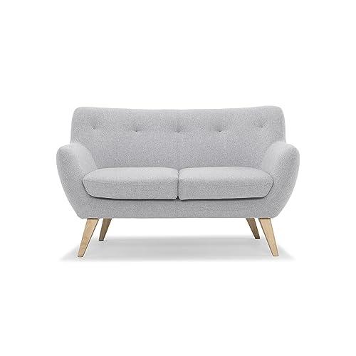 Scandinavian Design, Oscar canapé 2 places, tissu gris clair, 132 x 79 x 80 cm