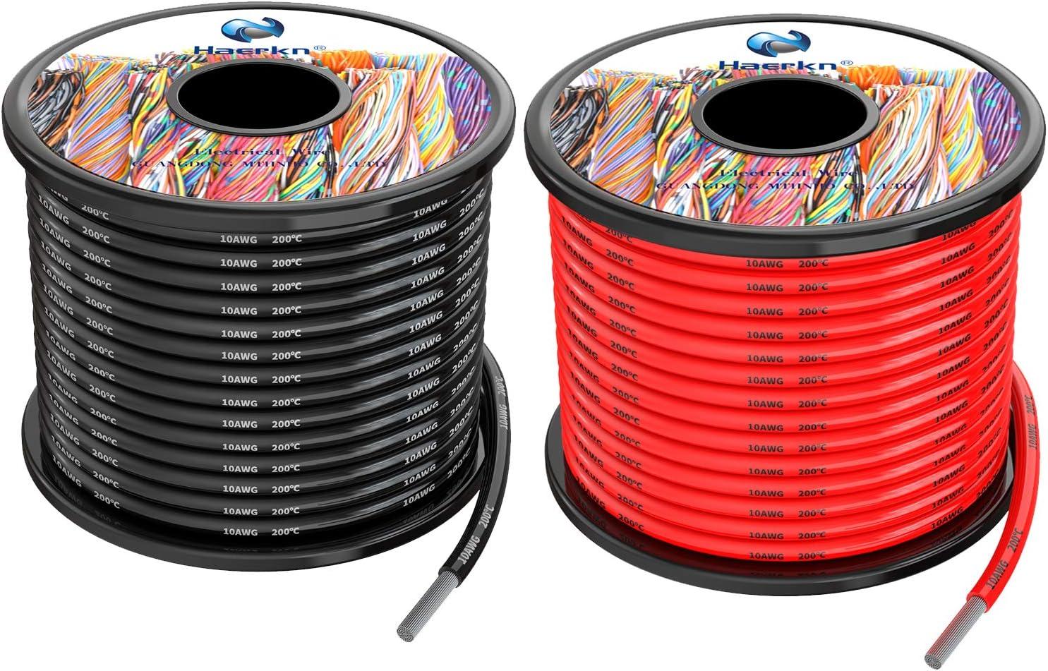 5.3mm² Cable Alambres eléctricos de silicona de 2x8Metros 10awg Cable de cobre estañado trenzado sin oxígeno Resistencia a altas temperaturas