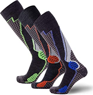 Pure Athlete High Performance Wool Ski Socks – Outdoor Wool Skiing Socks, Snowboard Socks