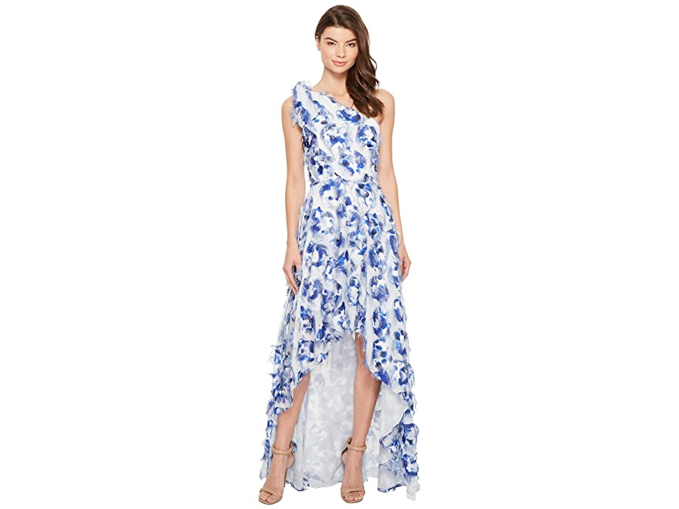 Nicole Miller Fringe Fabulous Cecily High-Low Gown (Blue Multi) Women