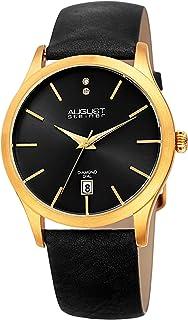 ساعة اوغست شتاينر للنساء بمينا سوداء وسوار مصنوع من الجلد - AS8233YGB
