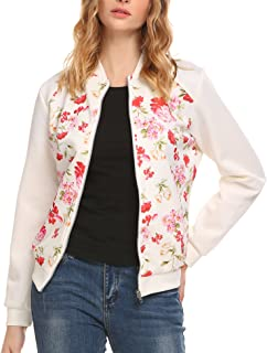 Zeagoo Women's Floral Print Zip Up Bomber Jacket Classic Short Pockets Coat