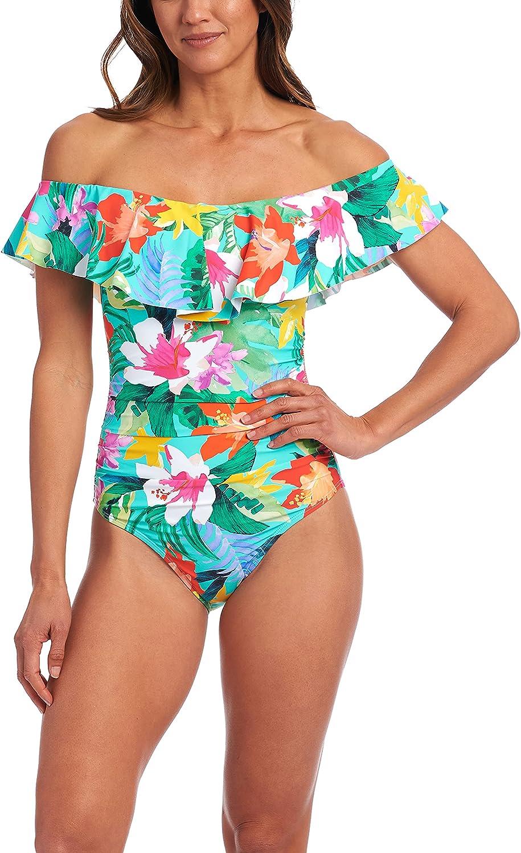 La Blanca Women's Off Shoulder Ruffle One Piece Swimsuit