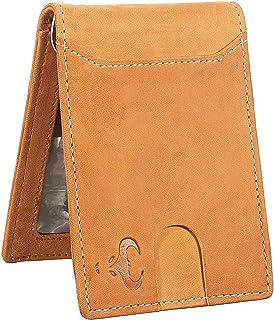 Genuine Leather Bifold Wallet for Men - Money Clip - Front Pocket Purse - RFID (Tan)