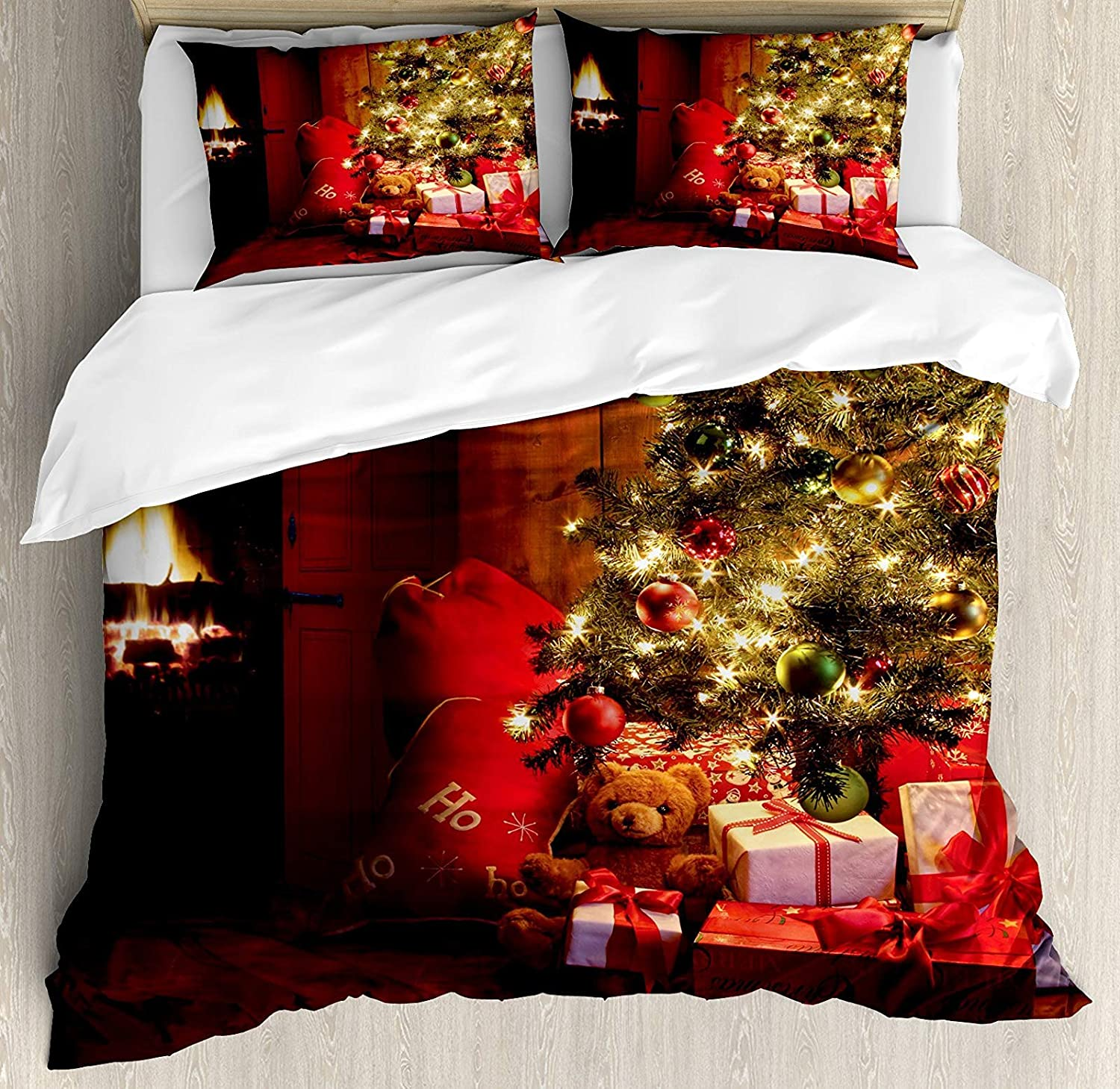 Christmas 4 Pcs Bedding Set Twin Size, Xmas Scene Celebrations Tree Gifts The Fireplace Artful Design Image All Season Duvet Cover Bed Set, Red Yellow