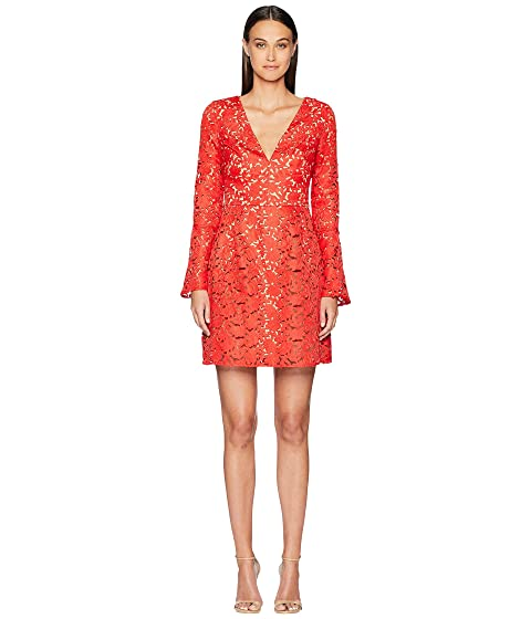 ML Monique Lhuillier Laser Cut Bell Sleeve Dress