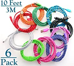 Josi Minea 6 Pcs Fabric Braided Nylon Premium Ruggedized Micro USB Rainbow Cables 10 Feet / 3 Meter Charger Sync Data Rapid Charging Cable USB Cord Wire for Samsung Galaxy S6 / S5 / S4 / S3 / S2, Samsung Galaxy Note / Note 2 / 3 / 4, Galaxy Tab, Google Nexus 7 / 10, Nokia Lumia, Most Android Tablets / Android Phones / Windows Phones - 10Ft/3M (6 Pack)