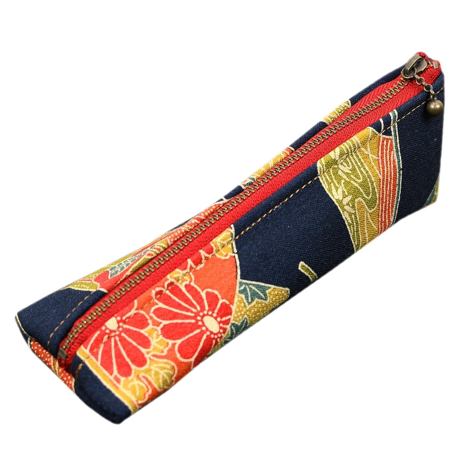 単調な同化する中傷着物 和柄 ペンケース 三角 立体的 可愛い 筆箱 ギフト 和風 お土産 8柄 (紺彩花)