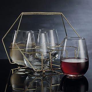 8fcc2684224 Home Essentials Cellini 5 Pieces Gold Stemless Glass Caddy