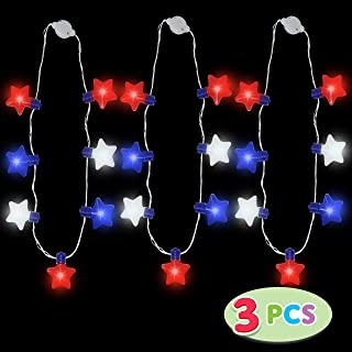 JOYIN 3 Pack Patriotic LED Necklaces Party Supplies with 6 Different Flicker Modes 4th of July Party Accessory Party Favors