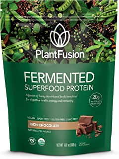 PlantFusion Organic Fermented Superfood | Plant Based Protein Powder with Digestive Enzyme's | Supports Immunity, Metabolism & Energy, Gluten Free, Vegan, Non-GMO, No Sugar, Chocolate, 300g