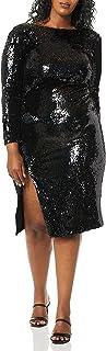 Dress the Population womens Natalie Long Sleeve Stretch Sequin Midi Sheath Dress PLUS Dress