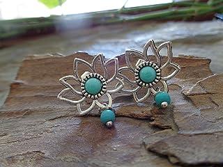 ◦ • ● ◉ஐ TAPPO CABOCHON FIORE DI LOTO AZZURRO ஐ◉ ● • ◦ Orecchini, orecchini a bottone con perle pendenti in pietra Howlite...